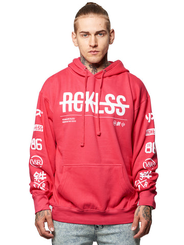 Young and Reckless Mens - Tops - Hoodies Strike Thru Hoodie- Hot Pink XS / HOT PINK