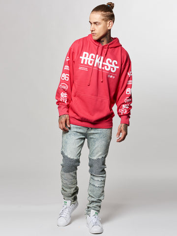 Young and Reckless Mens - Tops - Hoodies Strike Thru Hoodie- Hot Pink