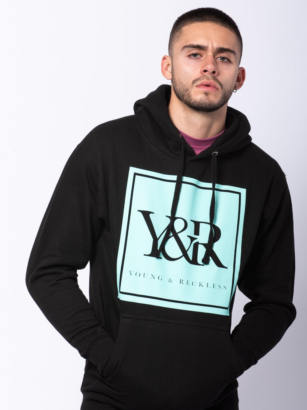 Young and Reckless Mens - Tops - Hoodies Trademark Box Hoodie - Ice