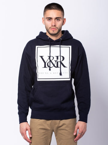 Young and Reckless Mens - Tops - Hoodies Trademark Box Hoodie - Navy