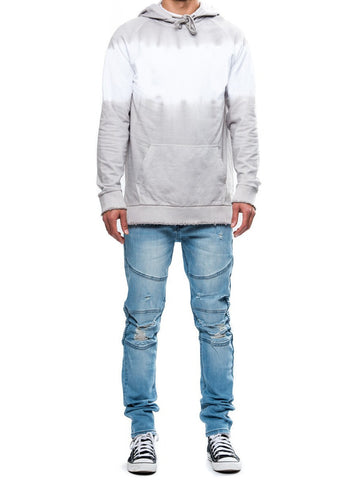 Young and Reckless Mens - Tops - Hoodies Vermont Dip Dye Hoodie- White