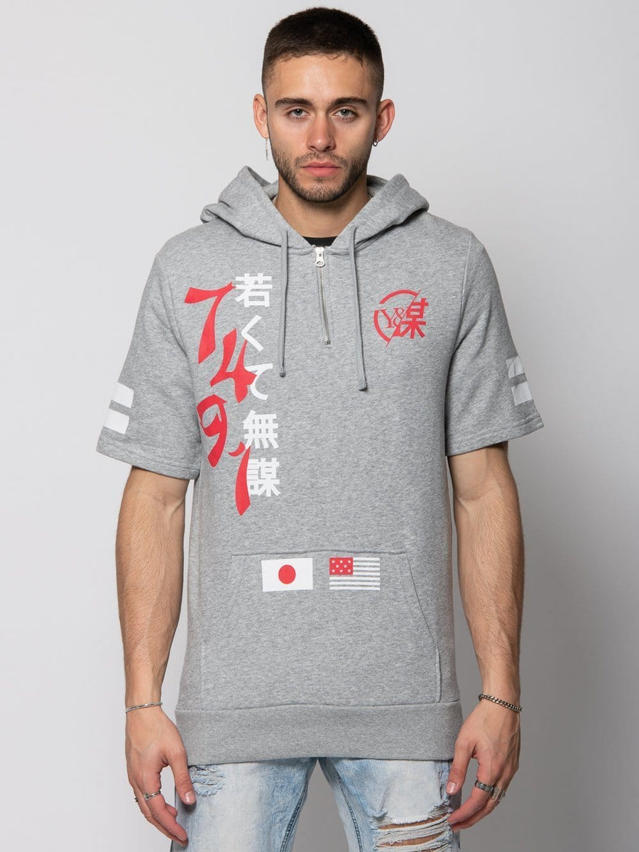 Young and Reckless Mens - Tops - Hoodies Yari Short Sleeve Hoodie - Heather Grey S / Heather Grey