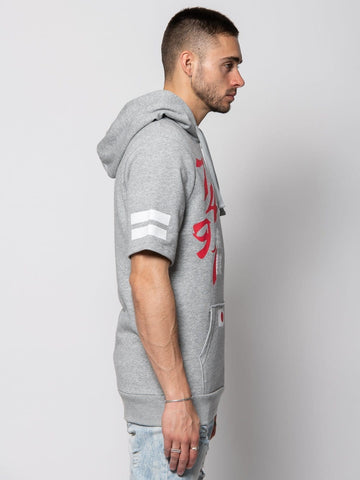 Yari Short Sleeve Hoodie - Heather Grey