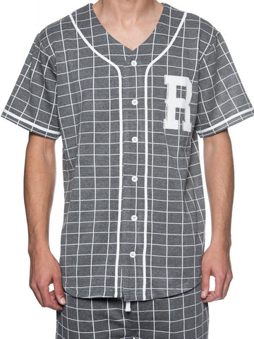 Young and Reckless Mens - Tops - Jerseys Vista Baseball Jersey - Heather Grey