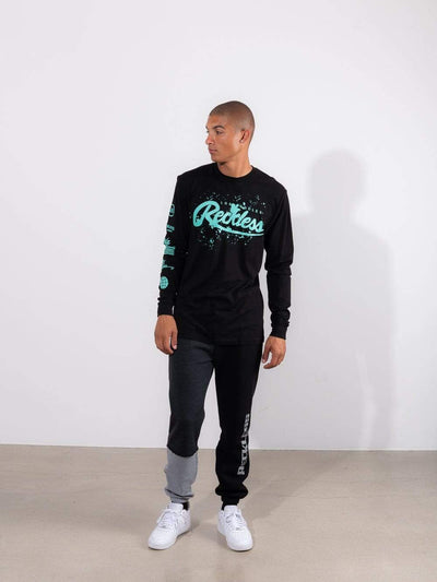 Young and Reckless Mens - Tops - Long Sleeve - Splash Back Long Sleeve - Black