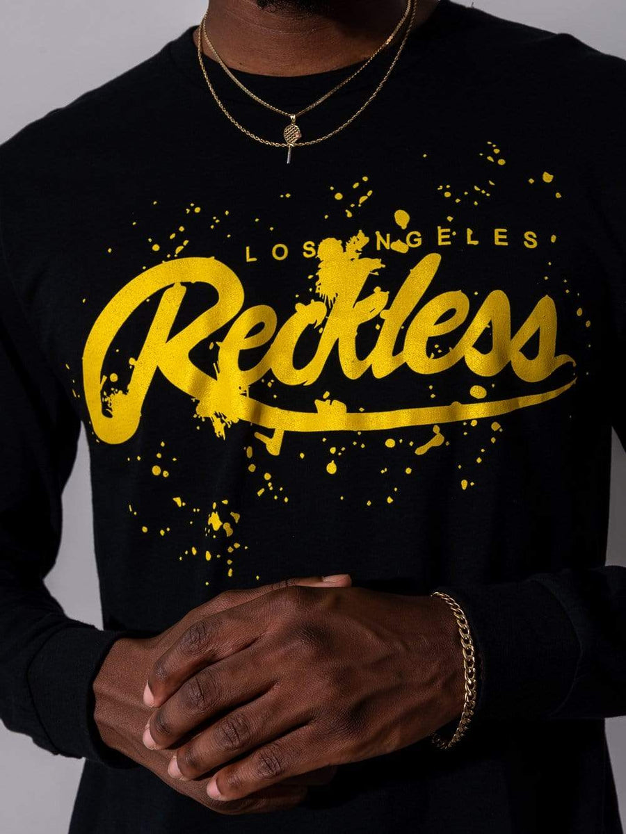 Young and Reckless Mens - Tops - Long Sleeve Splash Black Long Sleeve - Black/Gold