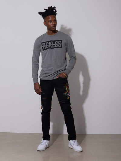 Young and Reckless Mens - Tops - Long Sleeve Strike Box Long Sleeve - Grey