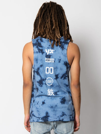 Young and Reckless Mens - Tops - Tanks Expelled Tank - Denim Blue Tie Dye S / DENIM BLUE TIE DYE