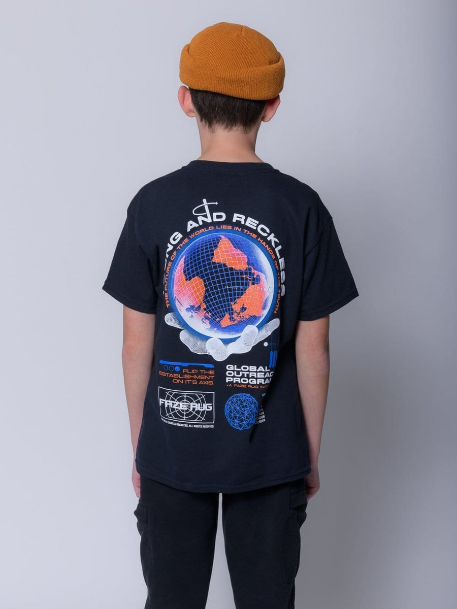 Young & Reckless Boys Youth - Tees - Graphic Tee Global Outreach Youth Tee - Black