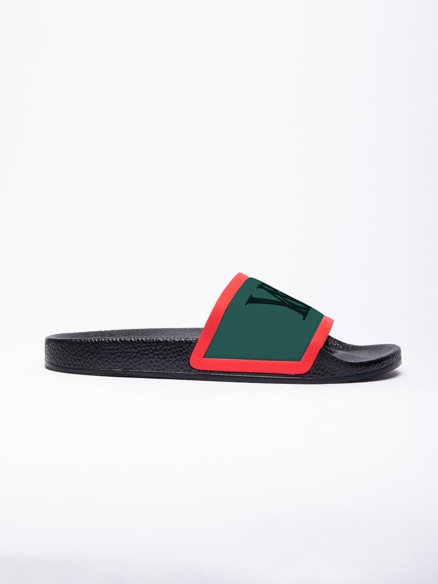 Young & Reckless Mens - Accessories - Footwear Trademark Slides -Black/Red/Green 7 / BLACK/RED/GREEN