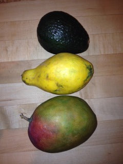Fresh avocado and mangos go into our raw skincare products.