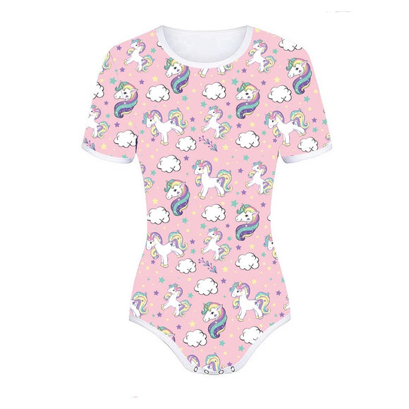 DDLGVERSE Pink Unicorns & Rainbows Adult Onesie