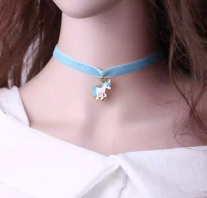 DDLGVERSE Velvet Unicorn Collar Blue