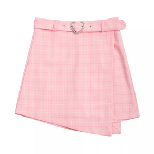 Plaid Skirt With Heart Belt
