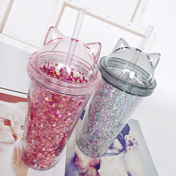 Sequin Kitty Straw Cup