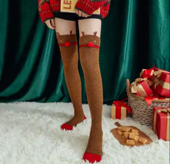 Fuzzy Reindeer Thigh High Socks