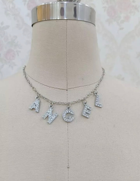 DDLGVERSE angel silver plated necklace