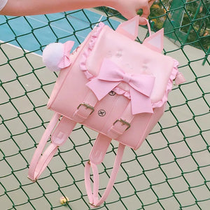 DDLGVERSE Bunny School Backpack Pink and WHhite