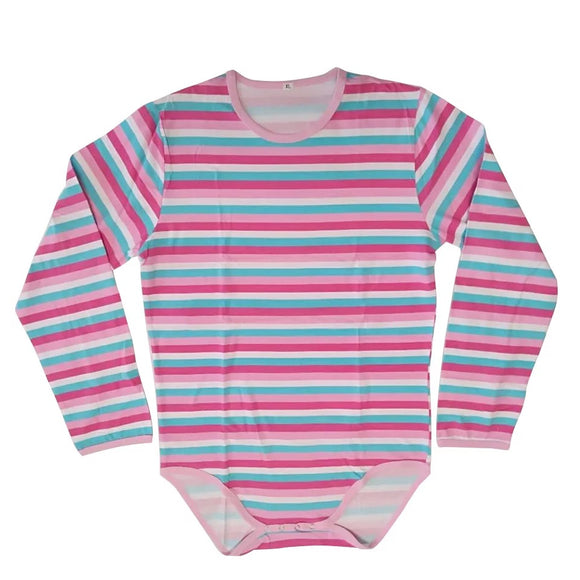 Pink Striped Long Sleeve Onesie