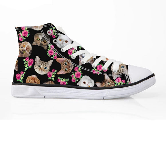 Kitten and Flower High Tops