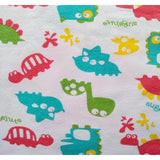 DDLGVERSE Dinosaur Stomp Adult Onesie close up of fabric print