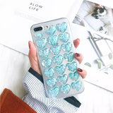 DDLGVERSE Clear Hearts iPhone Case Blue