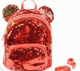DDLGVERSE Mini Sequin Mouse Backpack Red