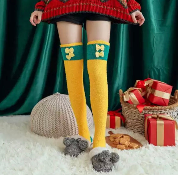 Fuzzy Bow Thigh High Socks