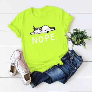 DDLGVERSE Nope Unicorn T-Shirt Neon Green