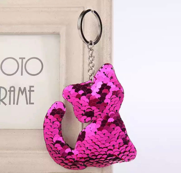 Sequin Kitty Keyring