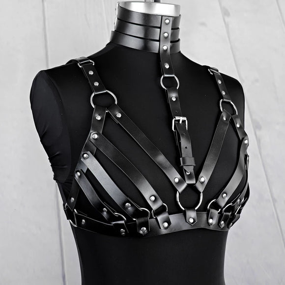 Black Vegan Leather Chest Harness