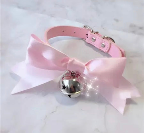 DDLGVERSE Satin Bow Collar Pink