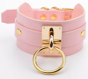 DDLGVERSE Pink Chunky O Ring Collar Gold and Silver