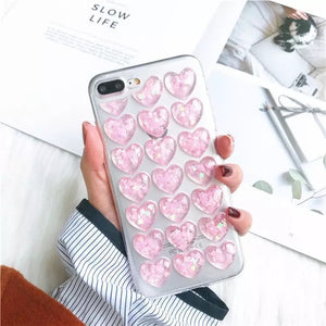 DDLGVERSE Clear Hearts iPhone Case Pink & Blue on Phone