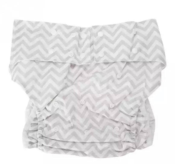 Grey Striped Adult Diaper