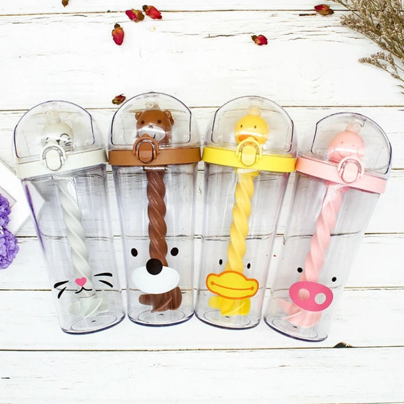 DDLGVERSE Animal Straw Stirrer Bottles