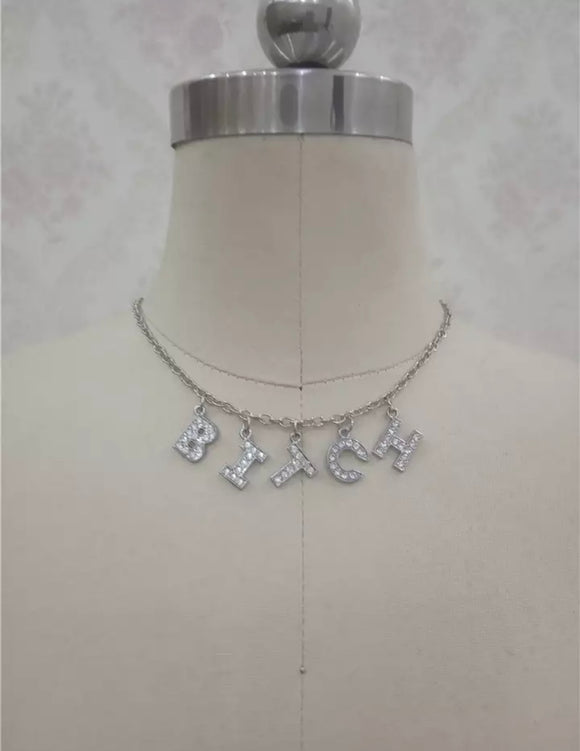 'Bitch' Silver Plated Necklace