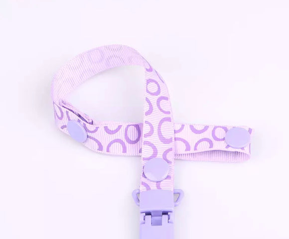 Purple Circles Pacifier Clip