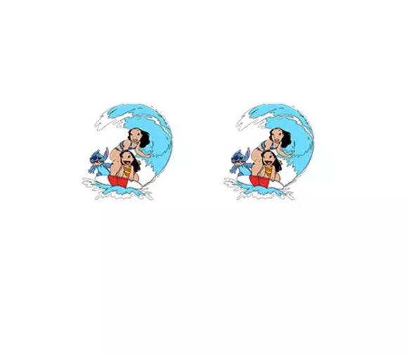 DDLGVERSE Lilo and Stitch Wave Stud Earrings