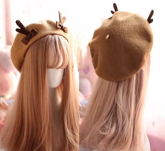 DDLGVERSE Reindeer Beret Front and Rear View