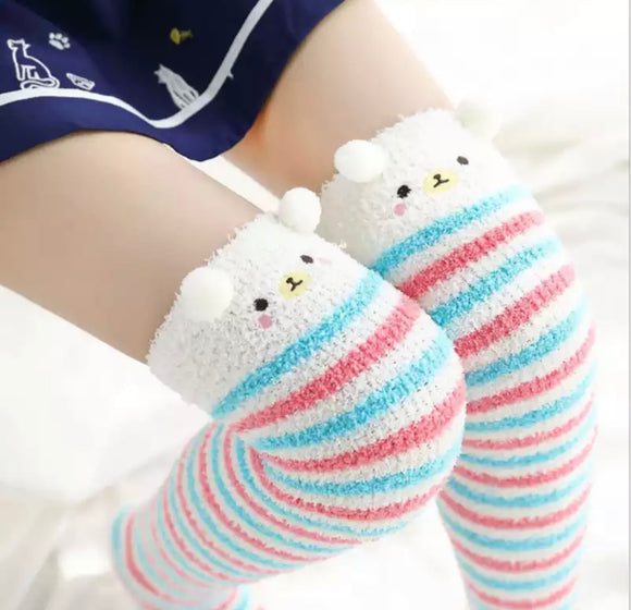 Fuzzy Bear Thigh High Socks