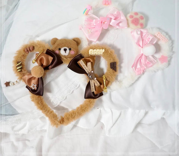 DDLGVERSE Luxury Bear Ears Brown and White
