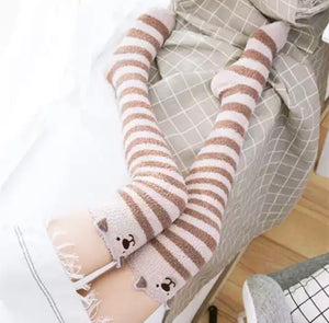 Fuzzy Dog Thigh High Socks