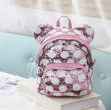 DDLGVERSE Mini Sequin Mouse Backpack Pink with White Spots
