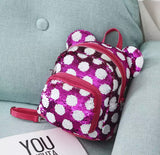 DDLGVERSE Mini Sequin Mouse Backpack Hot Pink and White Spots