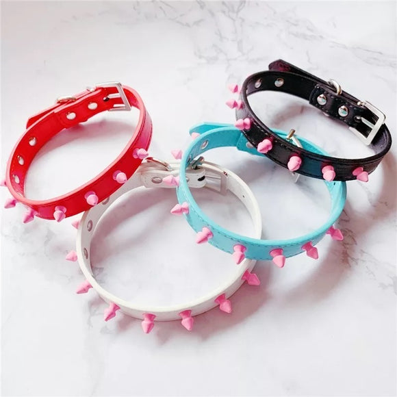 DDLGVERSE Spiked Pastel Collar Red, Pink, Blue, Black