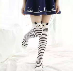 Fuzzy Kitten Thigh High Socks