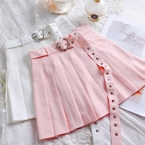 Heart Buckle Pleated Skirt