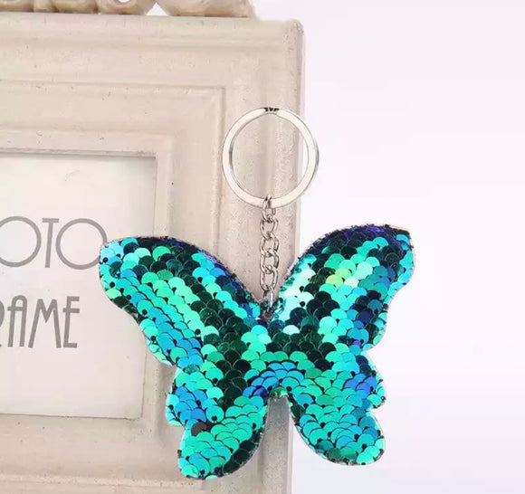 Sequin Butterfly Keyring