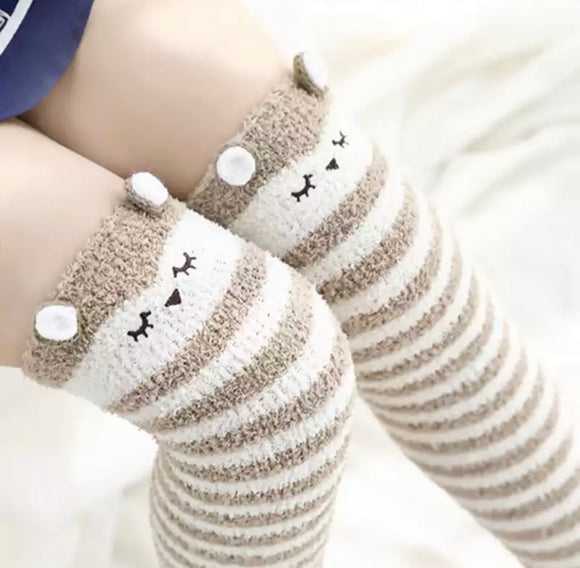 Fuzzy Foal Thigh High Socks
